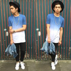 Thirdy Severo - Asos White And Blue Shirt, Adidas Superstar, Topman Black Hat - Im still workin on my masterpiece