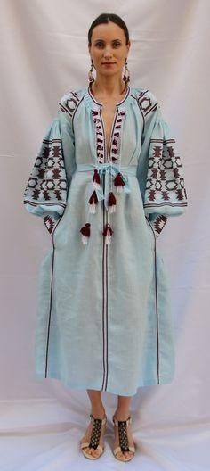 Light blue Vita Kin style linen vyshyvanka linen MIDI dress V neck frills burgundy white Embroidery. Sizes - XS-XXL MD046 Ready to ship