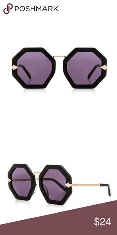 Geometric Sunglasses Chic Black Purple Gold BRAND NEW!! Chunky, geometric frames add statement-making retro appeal to lightweight, hand-crafted sunglasses featuring gold gold inlays at the temples.  🌟🌟Item is Brand New, direct from the Manufacturer, & Sealed in Pkg. 🌟🌟 Accessories Sunglasses