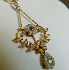 ANTIQUE OPAL, RUBY & OLD CUT DIAMOND NECKLACE