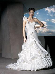 Ruffled One-shoulder Sweetheart Taffeta A-line Wedding Dress with Asymmetrical Dropped Waist
