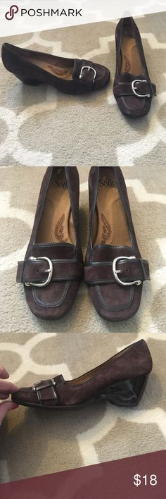 Sofft suede wedges Brown suede wedges with silver buckle detail Sofft Shoes Wedges