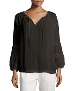 Split-Neck+Blouse+with+Lace+Inset,+Black+by+Vince+at+Neiman+Marcus.