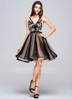 2698440af60 A-Line Princess V-neck Short Mini Tulle Homecoming Dress With Lace