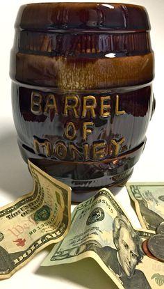 "Vintage Retro Mid Century Modern Ceramic Bank ""Barrel of Money"" Coin Bank Brown Drip Glaze Original Stopper Made in Japan by YatsDomino on Etsy"