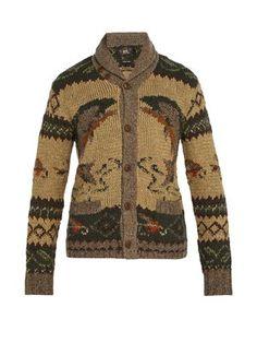 Blend of America Rrl - Shawl Collar Wool Cardigan - Mens - Brown Multi Ralph Lauren Mens Shirts, Wool Cardigan, Hand Knitting, Wool Blend, Men Sweater, Shawl, Brown, Sweaters, Clothes