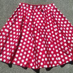 "Fun Rockabilly Skirt Rockabilly 1960""S style skirt. Cute red & white polka dots. No lining but not see through. Back zipper/button. *** Has some faint red bleeding (pic 4)  98% Cotton 2% Elastine 26.5"" L 17"" waist (flat) H.B. Vixen  Skirts"