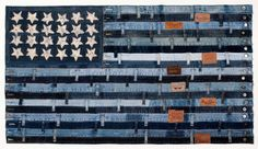 """""""Stars and Stripes I"""" Mixed Media: blue jeans on tulip wood frame Ann Carrington Jean Crafts, Denim Crafts, Blue Jean Quilts, Denim Patchwork, Denim Quilts, Flag Quilt, Denim Ideas, Old Jeans, Recycled Denim"""