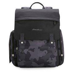 Eddie Bauer® Places & Spaces Compass Diaper Backpack in Black Buy Backpack, Diaper Bag Backpack, Black Backpack, Camo Diaper Bags, Dad Diaper Bag, Eddie Bauer Diaper Bag, Stroller Bag, Pregnancy Months, Buy Buy Baby