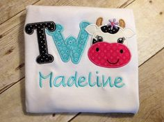 Girl Cow Birthday T-Shirt by KensingtonMaryDesign on Etsy