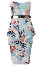 Floral Strapless Peplum Dress with Belt Peplum Dress, Bodycon Dress, Flower Skirt, Two Piece Skirt Set, Belt, My Style, Womens Fashion, Skirts, Women's Dresses