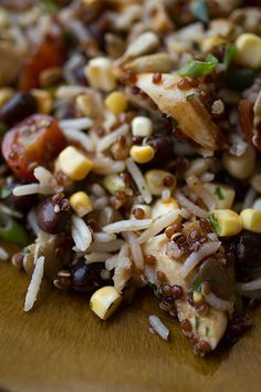 Smoky Southwestern Red Quinoa & Rice Salad with Grilled Chicken, Black Beans, Fresh Corn and a Tangy, Honey-BBQ Vinaigrette