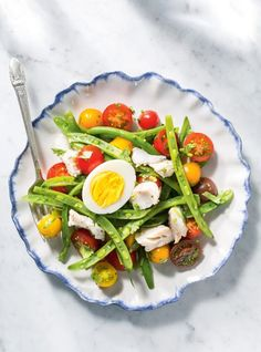 Tomato and Green Bean Salad with Haddock Poached in White Wine Fish Recipes, Seafood Recipes, Salad Recipes, Vegetarian Recipes, Healthy Recipes, Dinner Recipes, Green Bean Salads, Green Beans, Amazing Food Photography