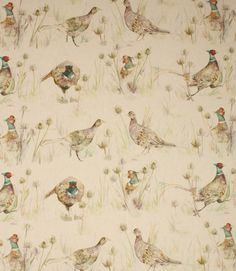 Save on our Linen Bowmont Pheasants Traditional Fabric from Voyage Decoration. This Regular fabric is perfect for Curtains & Blinds. No Sew Curtains, Cool Curtains, Velvet Curtains, Curtains With Blinds, Curtain Fabric, Tartan Wallpaper, Hall Wallpaper, Pattern Wallpaper, Stag Wallpaper