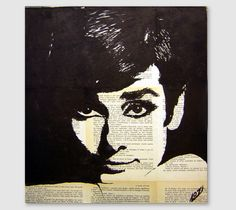 Audrey Hepburn portrait - Drawing / Painting / Collage on canvas by LaylaOzArt on Etsy