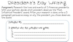 President's Day research/writing project