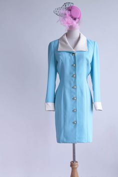 Vintage 1950s Dress Pointy Collar Blue Sheath Dress by FATFAM  https://www.etsy.com/shop/FATFAM