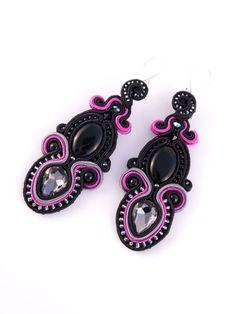 #blog #ludozerna.com #soutache #earrings #elegant #black #fashionjewelry #fashion #jewellery #highfashion #jewellery #fuschia #grey #100days