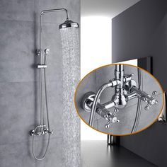 Shower Faucets Bathtub Faucets Brass Luxury Chrome Silver Shower Faucet Set Ceramic Handle Handheld Rain Shower Head Faucet Mixer Tap Relieving Rheumatism And Cold