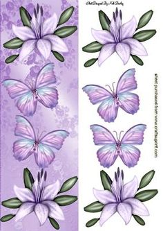 LAVENDER LILIES WITH BUTTERFLIES TALL DL on Craftsuprint designed by Nick Bowley - LAVENDER LILIES WITH BUTTERFLIES TALL DL, Makes a pretty card, for easter or sympathy, lots of other lily designs to see - Now available for download!