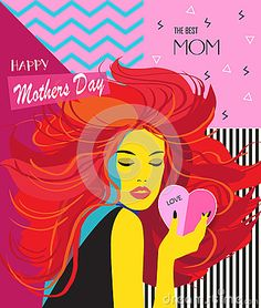 Happy Mothers Day card, banner, flyer, templates with beautiful woman, lettering, hearts, retro pattern. Futuristic style, Typography poster, label, brochure banner design collection. Love, Romance promotion