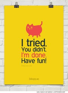 """cat motivational quote - """"I tried. You didn't. I'm done. Have fun!"""" (more motivational cats @ Kittycrew.com)"""