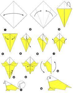 Perroquet en origami