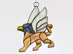 Gryphon Stained Glass Panel  Griffin Suncatcher Magical