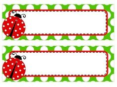 Set includes 3 sets of name tags and labels. - Red polka dot name tags and labels - Black polka dot name tags and labels - Green polka dot name tags and labels Can be mixed and matched. Perfect for ladybug themed classroom. Name Tag For School, School Frame, Ladybug Crafts, Butterfly Crafts, Baby Ladybug, School Labels, Spring Crafts For Kids, Name Tags, Classroom Themes
