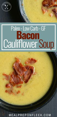 This Low Carb Bacon Cauliflower Soup is deliciously easy. Warm, thick and filled with cheesy flavor while being gluten-free and paleo friendly! #paleo #lowcarb #glutenfree #lowcarbdiet #lowcarbrecipe #souprecipes