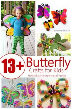 Butterfly crafts!! These are super cute and perfect for preschoolers and older kids too!!
