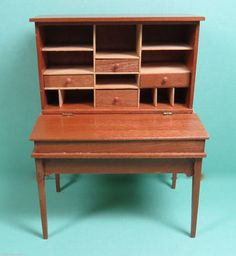 Doll House Miniature 1:12 Artisan Signed Desk with Drawers signed JKJ and TTS 1989