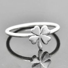 Clover ring, gold ring, sterling silver ring, stacking ring, four leaf clover ring, 4 leaf clover ring, lucky ring by JubileJewel on Etsy