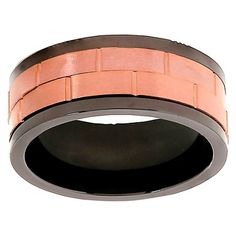 Men's West Coast Jewelry Coffee- Tone Two-Tone Stainless Steel Dual Spinner Ring (12), Black Brown