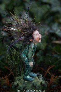 Sweet laughing pixie boy - miniature artwork by Tatjana Raum Woodland Creatures, Magical Creatures, Elves And Fairies, Baby Fairy, Fairy Art, Fairy Dolls, Fairy Houses, Pixie, Fantasy Art