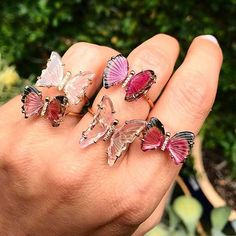 Tourmaline Butterfly Rings Ruby Lane —- Vintage Informations About Turmalin Schmetterling Ringe Ruby Cute Jewelry, Jewelry Accessories, Fashion Accessories, Fashion Jewelry, Jewlery, Pink Jewelry, Body Jewelry, Butterfly Ring, Butterfly Jewelry
