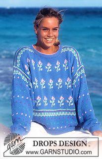 """DROPS trui met bloemen patroon van """"Muskat"""". Maat S – L. ~ DROPS Design"""