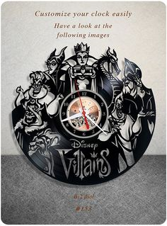 Amazon.com: Disney Villains vinyl clock, vinyl wall clock, vinyl record clock, walt disney clock maleficent the evil queen jafar captain hook scar gaston wall art home decor kids gift 153 - (b2): Home & Kitchen