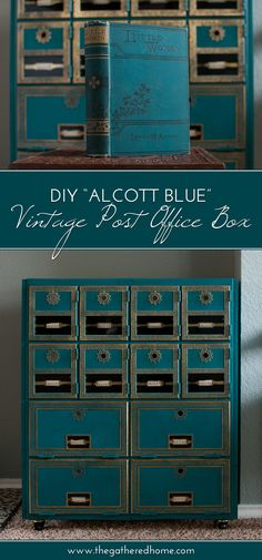 DIY Alcott Blue Vintage Post Office Box Makeover painted with Amy Howard at Home One Step Chalk-Based Paint! By Ace Blogger @thegatheredhome