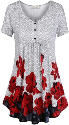 BAISHENGGT Women's V Neck Buttons Pleated Flared Comfy Tunic Tops at Amazon Women's Clothing store