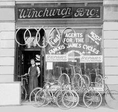 Percy Winchurch ~ Winchurch Brother's Bicycle Shop ~ Birmingham, England (1906). ©Elizabeth E. Harper