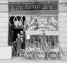 Percy Winchurch ~ Winchurch Brother's Bicycle Shop ~ Birmingham, England (1906). ©Elizabeth E. Harper