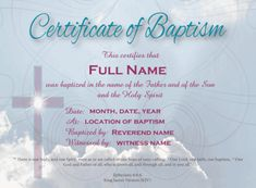 Free baptism certificate templates wedding officiants baptism certificate for presenting to someone after he or she is baptized download free files yadclub Choice Image