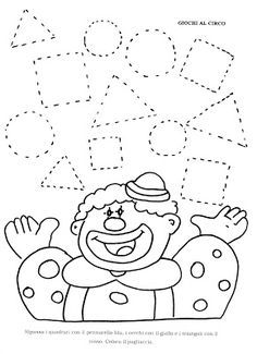 La maestra Linda : Forme geometriche Clown Crafts, Circus Crafts, Carnival Crafts, Preschool Learning, Kindergarten Worksheets, Preschool Crafts, Preschool Circus, Circus Activities, Preschool Activities