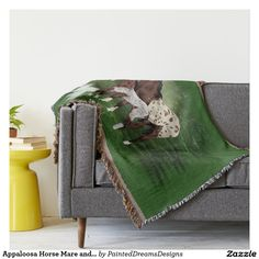 Appaloosa Horse Mare and Foal Throw Blanket