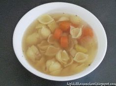 We made up our own recipe for chicken soup. 2 potatoes 3 carrots 1 medium onion 1 breast chicken 1 small package shell noodles 1 ts. Kids Soup, Soups For Kids, We Make Up, Chicken Soup Recipes, Carrots, Foods, Cooking, Ethnic Recipes, Food Food