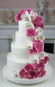 Orchids, pink, fushia, wedding, cake, sugar flower