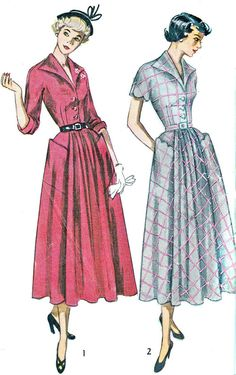 1940s Dress Patterns | 1940s Dress Pattern Simplicity 2920 Flared Skirt Kimono Sleeve Day or ...