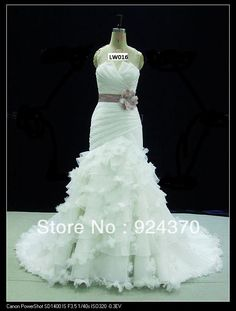 Aliexpress.com : Buy A Line Strapless Chapel Train Organza Wedding Dresses with Flower waist from Reliable Wedding Dresses suppliers on Novia Bridal $239.98