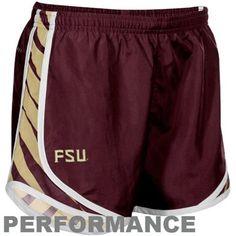 Nike Florida State Seminoles (FSU) Ladies Garnet Striped Tempo Performance Shorts